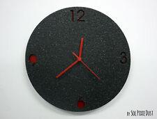 Black Granite Concrete Clock / Modern Circle Wall Clock with Granite textured