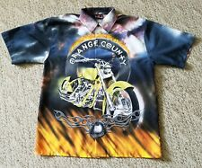 ORANGE COUNTY CHOPPERS OCC MOTORCYCLE BUTTON DOWN POLYESTER SHIRT MENS LARGE L