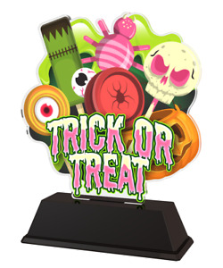 HALLOWEEN GIFT AWARD TRICK OR TREAT ACRYLIC TROPHY *FREE ENGRAVING* 160mm *NEW*