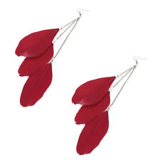 Pair of Long RED Feathers Tassel Drop Dangle Cool Looking Earrings Jewelry Gift