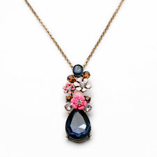 NEW Modern Masino Collection Monroe Pink Flower Blue Gemmed Long Necklace