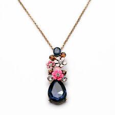 NEW Modern Anthropologie Monroe Pink Flower Blue Gemmed Long Necklace