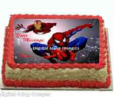 Cake topper edible  image icing Spiderman Ironman REAL FONDANT