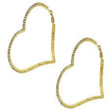 """Heart Hoop Earrings Rhinestone Leverback Crystal Pave 3.25"""" Hoops GOLD Gift Love"""