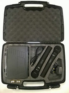 Dual Handheld Microphone with Case & 2 Wireless Mics VHF System 173.8 - 174.8Mhz