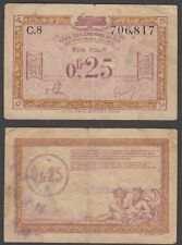 France 0.25 Franc 1923 (VF) CRISP Franco-Belgian Railways P-R3