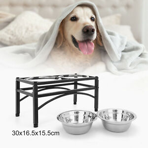 Double Elevated Dog Pet Feeder Bowl Stainless Steel Food Water Stand Tray UK
