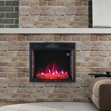 3D Brick Frame Inset Wall Electric Fireplace LED Digital Flame Insert Fire Stove