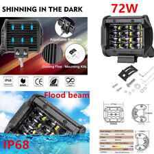 8640LM 72W 4Row Work Light Flood Beam For Boat SUV Driving Fog Lights Waterproof