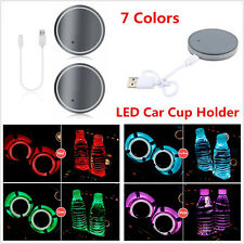7 Color LED Light Car Cup Holder Bottom Pad USB Charger Interior Atmosphere Lamp