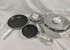 4 White Nonstick T-fal Ultrabase Cookware Stainless Steel Vented Lids - Skillet