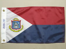 "St Maarten Netherlands Indoor Outdoor Dyed Nylon Boat Flag Grommets 12"" X 18"""