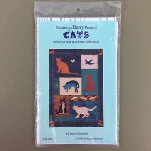 Cats Applique Quilt Pattern Critters In A Hurry Designs CH 0294 Schmehl new