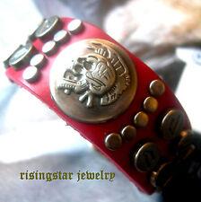 Men Trendy Motorcycle Rider Skull Metal Studs Leather Hip Hop Bracelet Wristband