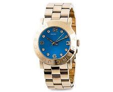 NWT Marc Jacobs Women Watch Bracelet Gold Amy Swarovski Blue Dial w/Box MBM3303