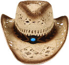 New Cowboy Weatern Shapeable Straw Hat Panama Cowgirl Sun Rodeo Concho