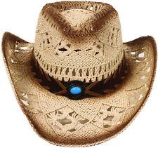 Western Straw Cowboy Hat Wide Brim Summer Travel Beach Pool Sun Straw Hat