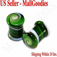 0177 Double Flare Green White Swirl Glass Saddle Ear Plugs 0G Gauge 8mm Spiral