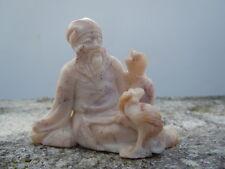 Sculpture vieux sage sculpté Netsuké pierre dure Okimono 19ème