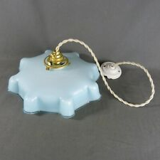Vintage French Blue Opaline Milk Glass Ceiling Shade, w/Hardware, Ø 10.1/2""