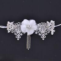 White Armlet Lace Bracelet Ring Slave Chain Flower Harness Bracelet Wedding
