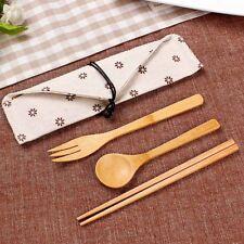 Portable Wooden Spoon Fork Chopsticks Set Tableware Flatware Utensil W/Pouch