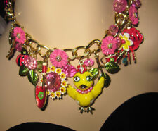 BETSEY JOHNSON A GARDEN PARTY FLOWERS CHICK GARDEN TOOLS STATEMENT NECKLACE