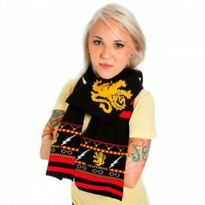 Adult Unisex Harry Potter Gryffindor Symbols Pattern Fair Isle Black Knit Scarf