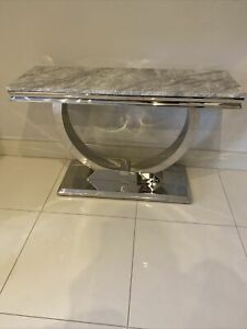 BRAND NEW GREY MARBLE CHROME LEG CONSOLE TABLE