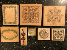 8 WOODEN RUBBER CRAFT STAMP / STAMPS BORDERS & PATTERN DESIGNS