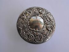 Antique Vintage Silver Plated Trinket box Crystal bottom with Mirrored Lid