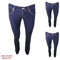 pantaloni donna jeans met body elasticizzato estivo vita bassa diritto W26 W27