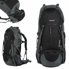 Camping Travel Rucksack Mountaineering Outdoor Backpack Hiking Bag 60L Black TN