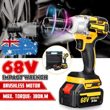 68V Electric Cordless Impact Wrench Brushless Rattle Gun Car Torque + 2