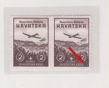 CROATIA,WW II,2+2 kn,Wings,rare perforation from ministrial book engrawer 1 MNH