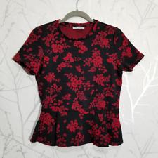 Zara Black Floral Print Short Sleeve Peplum Top | Women's M