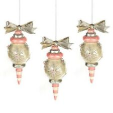 MacKenzie Childs Pink Hand-Painted (Set 3) Home Sweet Snow Capiz Glass Ornaments