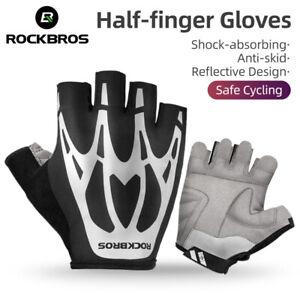 ROCKBROS Cycling Half Finger Non-slip Breathable Gloves Reflective Bike Gloves