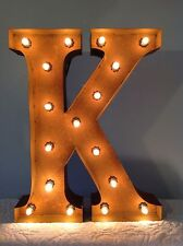 "New Rustic Metal Letter K Light Marquee: Sign Wall Decoration 24"" Vintage"