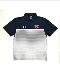 New Under Armour Auburn Tigers Short Sleeve Golf Polo Men's L Navy White 1348073