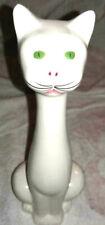 cute green eyed white long neck vintage sitting cat porcelain figurine
