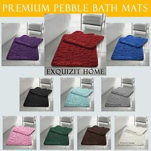 PEBBLES BATH MAT PEDESTAL MEMORY FOAM SET NON SLIP SOFT TOILET BATHROOM RUGS 2PC