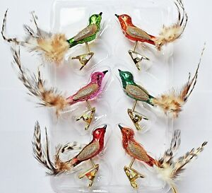 ❀ 6 x Glasvogel SET Lauscha Mini Vögel Bunt Glas Vogel Christbaumschmuck #173B