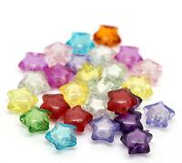 New: 200 Mix Klar Acryl Sterne Spacer Perlen Beads für Armband 12x11mm