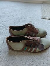 Kickers vintage 80s casual shoe Green nubuck and brown leather Uk8 good used...