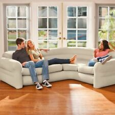 Intex 68575EP Inflatable Corner Living Room Air Mattress Sectional Sofa, Beige