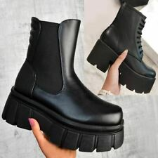 Womens Ladies Chunky Wedge Platform Black Faux Leather Ankle Boots Punk Goth New