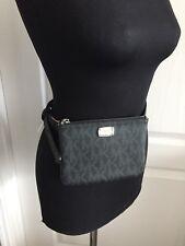 $78 MICHAEL KORS Fanny Pack Belt MK Logo Bag 552744C Size S Black Silver NWT