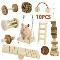 10Pcs Wooden Pet Hamster Parrot Toy--Unicycler & Seesaw & Dumbbell Real Wood Toy