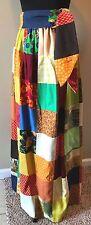 Vintage 1970s Quilt Patchwork Hippy Maxi Skirt size S with Sash or Belt SK5